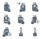 Set of camping stove and gas bottle icons. Vector illustration Stock Images