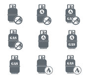 Set of camping stove and gas bottle icons. Vector illustration Stock Image