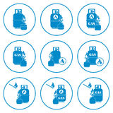 Set of camping stove and gas bottle icons. Vector illustration Royalty Free Stock Photo