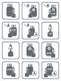 Set of camping stove and gas bottle icons Royalty Free Stock Photography