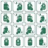 Set of camping stove and gas bottle icons Stock Photography