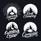 Set of Camping, Summer Camp, Outdoor and Rock Climbing vintage logos, emblems, labels, badges. Stock Image