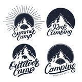 Set of Camping, Summer Camp, Outdoor and Rock Climbing vintage logos, emblems, labels, badges. Stock Photo