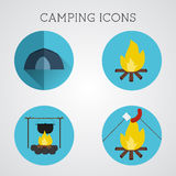 Set of camping symbols and icons. Flat design on blue buttons background. Summer vacation 2015 logo Royalty Free Stock Images