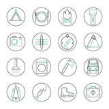 Set of 16 camping and tourism outline icons Royalty Free Stock Image