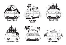 Set with camping trailer logo. Cars on a landscape background with lettering mountain, summer camp. Black and white Stock Photo