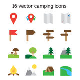 Set of camping, travelling and nature icons Royalty Free Stock Photos