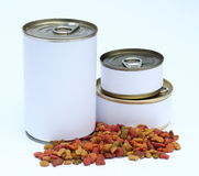 A set of can and dried cats/dogs food with label ready for new graphic design. Three tin can in large,medium and small size Royalty Free Stock Image