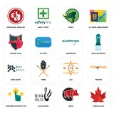 Set of canada leaf, boar, customer satisfaction, lux, bike chain, badminton, boxing club, rhino, veterinary medicine icons. Set Of 16 simple editable icons such Royalty Free Stock Photo