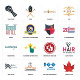 Set of canada leaf, 100 year anniversary, bike chain, veterinary medicine, badminton, boxing club, hotel, churros, shoe print icon. Set Of 16 simple editable Royalty Free Stock Photo