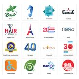Set of canadian leaf, nano, handicapped, churros, volleyball tournament, 20 anniversary, hair studio, statement, basil icons. Set Of 16 simple editable icons Royalty Free Stock Photo