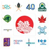 Set of canadian leaf, 100 year anniversary, hookah, girl power, 30 year, skull and crossbones, unemployment, canada rhino icons. Set Of 13 simple  icons such as Royalty Free Stock Photos