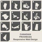 Set of Canadian province map buttons. Set of Canadian provinces responsive flat web design map buttons isolated with clipping path Royalty Free Stock Photos