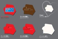 Set of 6 Canberra-Capital of Australia-Map illustration - i love sign vector illustration