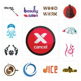 Set of cancel, fight club, dice, import export, coffe, pregnancy, revolver, truck company, jellyfish icons. Set Of 13 simple  icons such as cancel, fight club Stock Photo