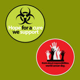 Set of 2 Cancer Awareness badge. In Red and Green color background Royalty Free Stock Image
