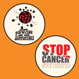 Set of 2 Cancer Awareness badge. With Cancer Virus and message Stock Photography