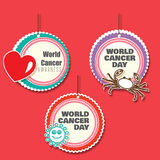 Set of 3 cancer awareness danglers with cutouts. Set of 3 Multi layred dangler with cutouts of crab, virus, heart Royalty Free Stock Images