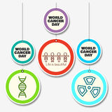 Set of 3 cancer awareness double level danglers with shapes and message. Set of 3 cancer awareness double level danglers with shapes of DNA, Human Chain, Radio Royalty Free Stock Photo