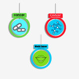 Set of 3 cancer awareness multicolor danglers with shapes. Of mouth, capsule, molecule Royalty Free Stock Photo