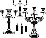 Set of candelabrum. Candlestick and candle stencil Royalty Free Stock Image