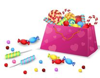 Set of Candies in the bag isolated on white background Royalty Free Stock Photo