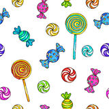 Set of candies and lollipops. Lollipop seamless pattern. Candy on stick with bow for design. Animation illustrations. Handwork. Or. Nament for fabrics Royalty Free Stock Photography