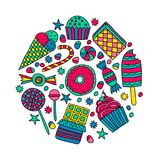 Set of candies and sweets in doodle style stock illustration