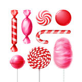 Set of candies. Vector set of different sweets in pink, red striped foil wrappers, swirl lollipops, xmas cane and cotton candy isolated on white background Royalty Free Stock Photos