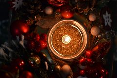 Christmas candle and decorations stock photography