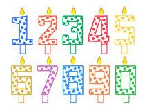 Set of candles for cake in the form of numbers on a white background vector illustration