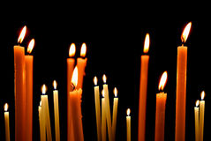 Set of candles in the dark concept of religion Stock Photo