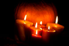 Set of Candles and pumpkin Royalty Free Stock Images
