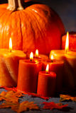 Set of Candles and pumpkin Stock Image