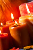 Set of Candles and pumpkin Stock Photos