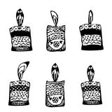 Set candles in style doodle. Sketch, drawing hand. Vector illustration on isolated background. Set candles in style doodle. Sketch, draw hand. Vector Royalty Free Stock Photos