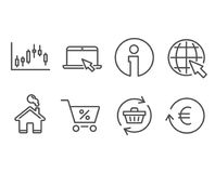 Candlestick graph, Special offer and Refresh cart icons. Set of Candlestick graph, Special offer and Refresh cart icons. Portable computer, Internet and Stock Images