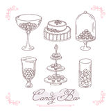 Set of candy bar objects. Bakery goods clip art Royalty Free Stock Photos