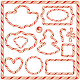 Set of Candy frames and borders, elements for winter holidays Stock Photos
