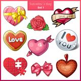 Set of candy hearts icons for Valentines Day Stock Image