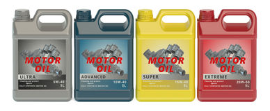 Set of canisters motor oil Royalty Free Stock Image