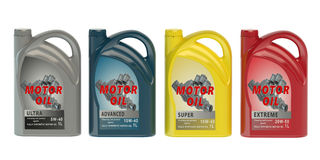 Set of canisters motor oil Stock Photos