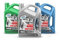 Set of canisters motor oil  Stock Photo