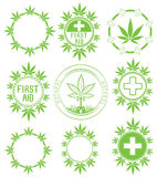 Set of cannabis and marijuana symbol stamps  Royalty Free Stock Images