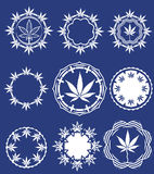 Set of cannabis and marijuana symbol stamps  Royalty Free Stock Image