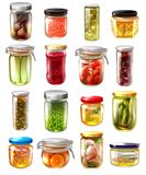 Canned Food Set. Set of canned food in glass jars with fruit jams, pickled vegetables, fish, caviar isolated vector illustration vector illustration