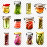 Canned Goods Set Transparent Background. Set of canned goods including garlic, olives, tomatoes, oranges, caviar, cucumbers isolated on transparent background stock illustration