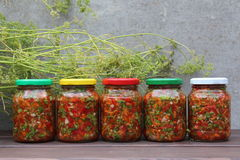 Set of canned vegetables and a bunch of dill. Stock Photography