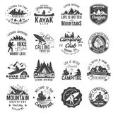 Set of canoe, hiking, kayak and camping club badge. Set of canoe, kayak, hiking and camping club badge. Vector illustration. Concept for shirt, print, stamp or Stock Photography