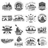 Set of canoe, hiking, kayak and camping club badge. Set of canoe, kayak, hiking and camping club badge. Vector illustration. Concept for shirt, print, stamp or Royalty Free Stock Image